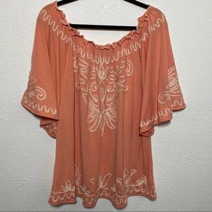 Lauren Michelle Coral Embroidered Top Size 1X